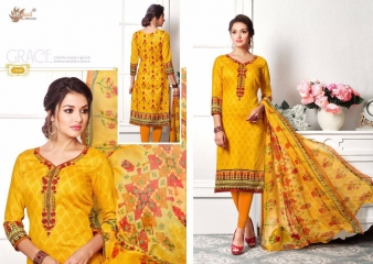 AADESH NX ZOHRA 13 CATALOG COTTON SATIN NECK EMBROIDERED SALWAR KAMEEZ WHOLESALE SELLER BEST RATE BY GOSIYA EXPORTS SURAT ( (6)