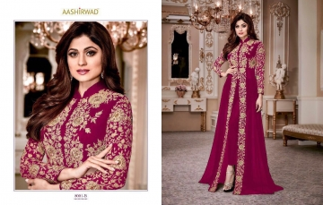 AASHIRWAD CREATION SHAMITA GOLD GEORGETTE EMBROIDERED PARTY WEAR SUITS WHOLESALER BEST RATE BY GOSIYA EXPORTS SURAT (1)