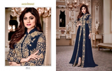 AASHIRWAD CREATION SHAMITA GOLD GEORGETTE EMBROIDERED PARTY WEAR SUITS WHOLESALER BEST RATE BY GOSIYA EXPORTS SURAT (2)