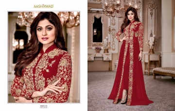 AASHIRWAD CREATION SHAMITA GOLD GEORGETTE EMBROIDERED PARTY WEAR SUITS WHOLESALER BEST RATE BY GOSIYA EXPORTS SURAT (3)