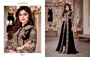 AASHIRWAD CREATION SHAMITA GOLD GEORGETTE EMBROIDERED PARTY WEAR SUITS WHOLESALER BEST RATE BY GOSIYA EXPORTS SURAT (4)