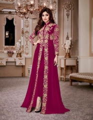 AASHIRWAD CREATION SHAMITA GOLD GEORGETTE EMBROIDERED PARTY WEAR SUITS WHOLESALER BEST RATE BY GOSIYA EXPORTS SURAT