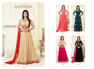 AASHIRWAD CREATION SIGNATURE GEORGETTE SUITS WHOLESALE BEST RATE BY GOSIYA EXPORTS SURAT (7)