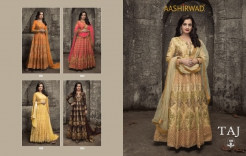 AASHIRWAD CREATION TAJ MULBERRY SILK SUITS CATALOGUE WHOLESALE BEST ARTE BY GOSIYA EXPORTS SURAT ONLINE (7)