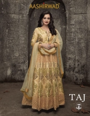 AASHIRWAD CREATION TAJ MULBERRY SILK SUITS CATALOGUE WHOLESALE BEST ARTE BY GOSIYA EXPORTS SURAT ONLINE