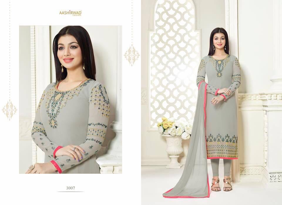 80000cf701 AASHIRWAD CREATIONS SAFFRON VOL 3 GEORGETTE STRAIGHT SUITS WHOLESALE BEST  RATE BY GOSIYA EXPORTS SURAT (