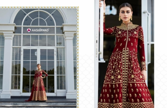 AASHIRWAD MOR BAGH TAJ VOL 4 7007-7010 SERIES BRIDAL DRESSES ONLINE SHOPPING WHOLESALE DEALER BEST RATE BY GOSIYA EXPORTS SURAT (10)
