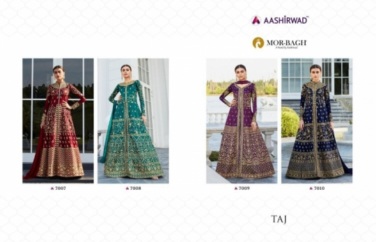 AASHIRWAD MOR BAGH TAJ VOL 4 7007-7010 SERIES BRIDAL DRESSES ONLINE SHOPPING WHOLESALE DEALER BEST RATE BY GOSIYA EXPORTS SURAT (2)