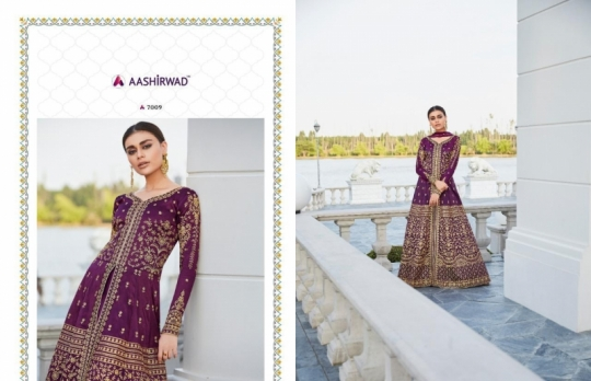 AASHIRWAD MOR BAGH TAJ VOL 4 7007-7010 SERIES BRIDAL DRESSES ONLINE SHOPPING WHOLESALE DEALER BEST RATE BY GOSIYA EXPORTS SURAT (5)