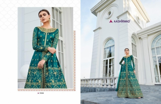 AASHIRWAD MOR BAGH TAJ VOL 4 7007-7010 SERIES BRIDAL DRESSES ONLINE SHOPPING WHOLESALE DEALER BEST RATE BY GOSIYA EXPORTS SURAT (7)