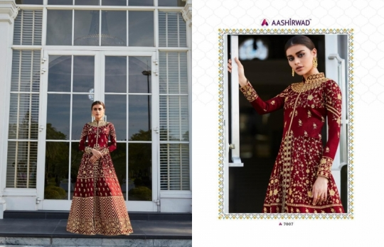 AASHIRWAD MOR BAGH TAJ VOL 4 7007-7010 SERIES BRIDAL DRESSES ONLINE SHOPPING WHOLESALE DEALER BEST RATE BY GOSIYA EXPORTS SURAT (9)