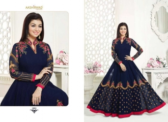 AASHIRWAD NOORJAHAN REAL GEORGETTE ANARKALI SUIT CATALOG WHOLESALE BEST RATE SURAT (1)