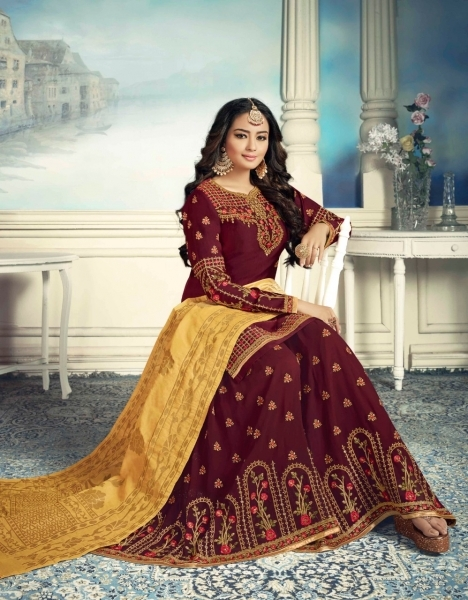 AMIRAH SHARARA GEORGETTE FABRIC WITH HEAVY WORK SUITS WHOLESALE DEALER BEST RATE BY GOSIYA EXPORTS SURAT (3)