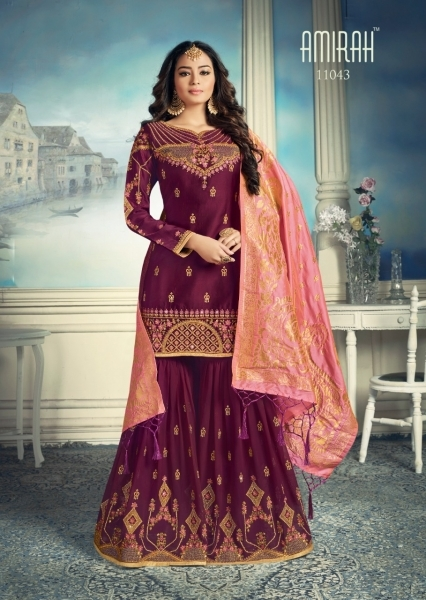 AMIRAH SHARARA GEORGETTE FABRIC WITH HEAVY WORK SUITS WHOLESALE DEALER BEST RATE BY GOSIYA EXPORTS SURAT (6)
