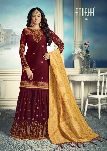 AMIRAH SHARARA GEORGETTE FABRIC WITH HEAVY WORK SUITS WHOLESALE DEALER BEST RATE BY GOSIYA EXPORTS SURAT (9)