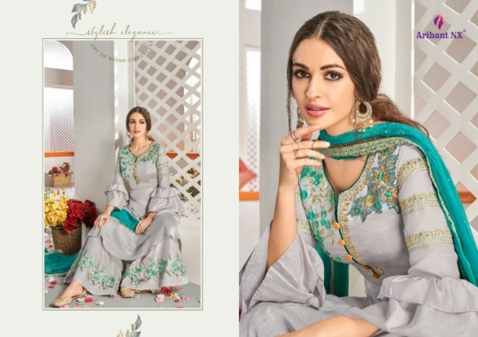 ARIHANT NX CHAHAT VOL 1 MAKLIN PLAZZO STYLE READYMADE SUIT COLLECTION WHOLESALE DEALER BEST RATE BY GOSIYA EXPORTS SURAT (1)