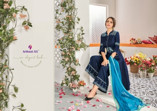ARIHANT NX CHAHAT VOL 1 MAKLIN PLAZZO STYLE READYMADE SUIT COLLECTION WHOLESALE DEALER BEST RATE BY GOSIYA EXPORTS SURAT (4)