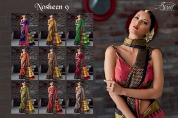 AURA SAREES BY NAUSHEEN VOL 9 CATALOGUE SILK SAREES CASUAL WEAR COLLECTION WHOLESALE BEST RATE BY GOSIYA EXPORTS SURAT (10)
