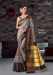AURA SAREES BY NAUSHEEN VOL 9 CATALOGUE SILK SAREES CASUAL WEAR COLLECTION WHOLESALE BEST RATE BY GOSIYA EXPORTS SURAT (9)