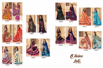 BELA FASHION OLIVINE GEORGETTE SATIN PRINTS SAREES WHOLESALE SUPPLIER BEST RATE BY GOSIYA EXPORTS SURAT (10)