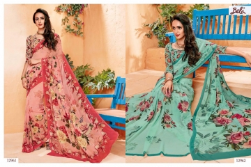 BELA FASHION ROSEMARY CATALOG GEORGETTE DESIGNER PRINTS SAREES COLLECTION (1)
