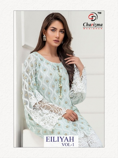 CHARIZMA DESIGNER PRESENTS EILIYAH VOL 1 NET GEORGETTE FABRIC WITH EMBROIDERY SALWAR SUIT DEALER BEST RATE BY (1)