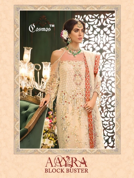 COSMOS AAYRA BLOCK BUSTER NET EMBROIDERED PAKISTANI STYLE DRESSES BEST RATE BY GOSIYA EXPORTS SURAT (1)