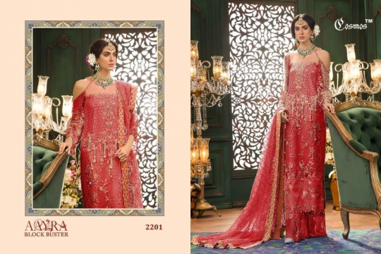 COSMOS AAYRA BLOCK BUSTER NET EMBROIDERED PAKISTANI STYLE DRESSES BEST RATE BY GOSIYA EXPORTS SURAT (3)