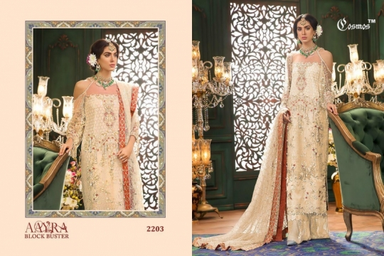COSMOS AAYRA BLOCK BUSTER NET EMBROIDERED PAKISTANI STYLE DRESSES BEST RATE BY GOSIYA EXPORTS SURAT (5)