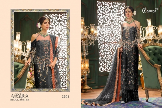COSMOS AAYRA BLOCK BUSTER NET EMBROIDERED PAKISTANI STYLE DRESSES BEST RATE BY GOSIYA EXPORTS SURAT (7)