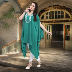 DESIGNER KAFTAN WITH EMBROIDERED WORK WITH TULIP PANTS WHOLESALE BEST RATE SURAT (1)