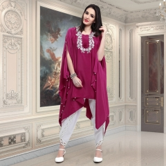 DESIGNER KAFTAN WITH EMBROIDERED WORK WITH TULIP PANTS WHOLESALE BEST RATE SURAT (2)