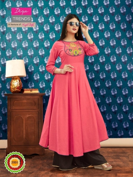 DIYA TRENDZ ICONIC CITY VOL 2 KAJAL STYLE LONG FLAIR KURTI WHOLESALE DEALER BEST RATE BY GOSIYA EXPORTS SURAT (1)