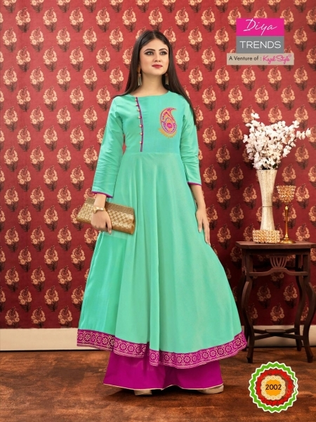 DIYA TRENDZ ICONIC CITY VOL 2 KAJAL STYLE LONG FLAIR KURTI WHOLESALE DEALER BEST RATE BY GOSIYA EXPORTS SURAT (4)