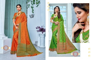 EARTH SAREES APSARA BANARSI PARTY WEAR SAREES COLLECTION WHOLESALE SUPPLIER BEST RATE BY GOSIYA EXPORTS SURAT (3)