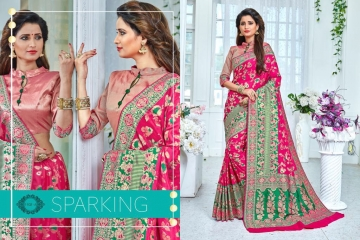 EARTH SAREES APSARA BANARSI PARTY WEAR SAREES COLLECTION WHOLESALE SUPPLIER BEST RATE BY GOSIYA EXPORTS SURAT (4)