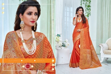 EARTH SAREES APSARA BANARSI PARTY WEAR SAREES COLLECTION WHOLESALE SUPPLIER BEST RATE BY GOSIYA EXPORTS SURAT (8)