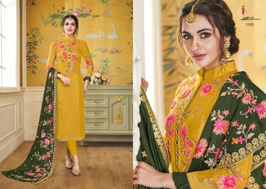 EBA LIFESTYLE LAUNCH HURMA VOL 18 VISCOSE FABRIC WITH EMBROIDERY WORK SALWAR SUIT WHOLESALE DEALER BEST RATE BY GOSIYA EXPROTS SU (50)