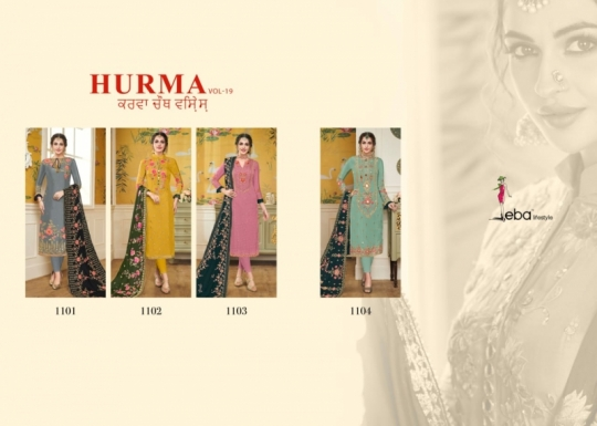 EBA LIFESTYLE LAUNCH HURMA VOL 18 VISCOSE FABRIC WITH EMBROIDERY WORK SALWAR SUIT WHOLESALE DEALER BEST RATE BY GOSIYA EXPROTS SURA (1)