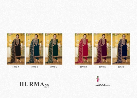 EBA LIFESTYLE PRESENTS HURMA VOL 17 NX BLOUMING WITH EMBROIDERY WORK SALWAR SUIT WHOLESALE DEALER BEST RATE BY GOSIYA (519)