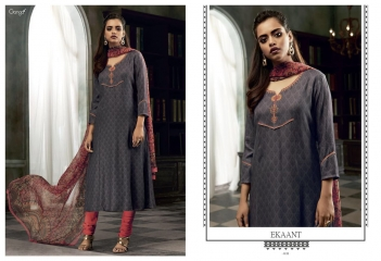 GANGA EKANT COTTON PRINTS WITH EMBROIDERED STRAIGHT PARTY WEAR COLLECTION T (4)
