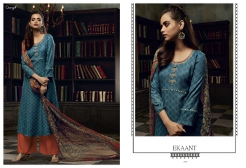 GANGA EKANT COTTON PRINTS WITH EMBROIDERED STRAIGHT PARTY WEAR COLLECTION T (7)