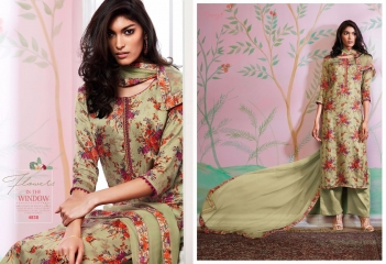 GANGA FLOWERS IN THE WINDOW NATURAL SILK FLOWERY PRINT SALWAR SUIT GANGA CATALOG WHOLESALE RATE BY GOSIYA EXPORTS (1)