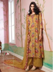 GANGA FLOWERS IN THE WINDOW NATURAL SILK FLOWERY PRINT SALWAR SUIT GANGA CATALOG WHOLESALE RATE BY GOSIYA EXPORTS