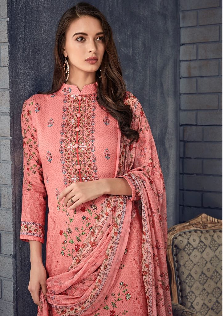 Gosiya Exports Glossy Mehnaz 18 25 Series Cotton Satin Prints With Work Ladies Dress Material Wholesale Dealer Best Rate By Gosiya Exports Surat