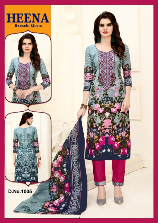 HEENA KARACHI QUEEN KARACHI COTTON PRINTED UNSTITCHED DRESS MATERIALS CATALOG WHOLESALE DEALER BEST RATE BY GOSIYA EXPROTS SURAT (13)