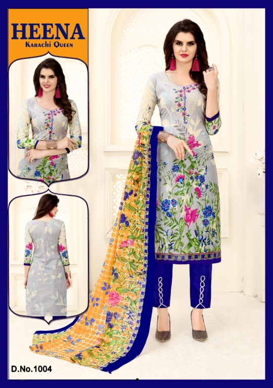 HEENA KARACHI QUEEN KARACHI COTTON PRINTED UNSTITCHED DRESS MATERIALS CATALOG WHOLESALE DEALER BEST RATE BY GOSIYA EXPROTS SURAT (22)