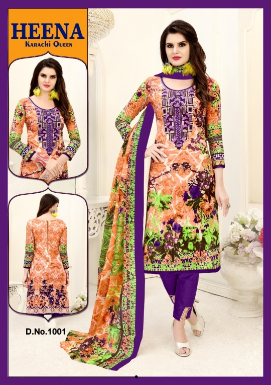 HEENA KARACHI QUEEN KARACHI COTTON PRINTED UNSTITCHED DRESS MATERIALS CATALOG WHOLESALE DEALER BEST RATE BY GOSIYA EXPROTS SURAT (23)
