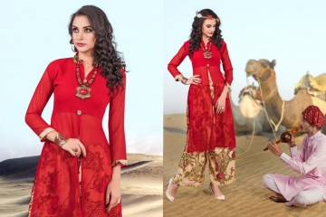 JUGANI STICHED GEORGETTE KURTI & PLAZOO COLLECTION WHOLESALE DEALER BEST RATE BY GOSIYA EXPORTS SURAT (12)