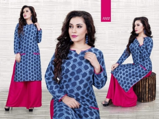 JUGNI BLACK AND BLUE VISCOS RAYON KURTI WITH PLAZZO WHOLESALE RATE AT GOSIYA EXPORTS SURAT WHOLESALE DEALER AND SUPPLAYER SURAT GUJARAT (3)